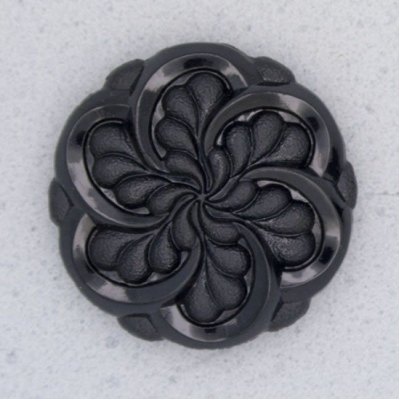 Ref000021 Botón Redondo, flor en color negro