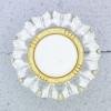 Ref000659 Botón Redondo, Flor en colores blanco y  dorado y  transparente