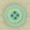 Ref000673 Botón Redondo en colores azul y  turquesa y  dorado
