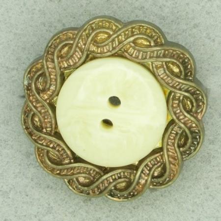 Ref000695 Botón Redondo en colores blanco y  dorado y  beige