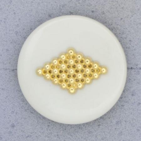 Ref000711 Botón Redondo en colores blanco y  gris y  dorado