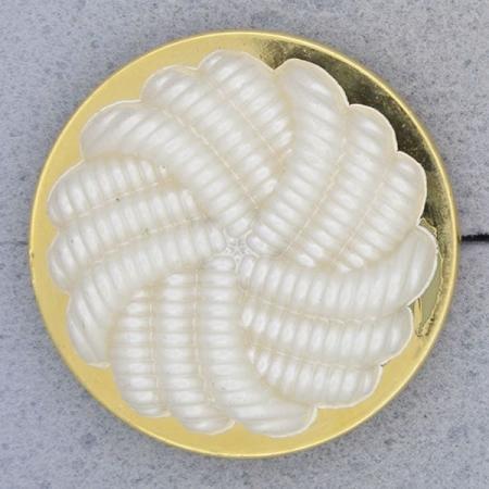 Ref000721 Botón Redondo en colores blanco y  dorado