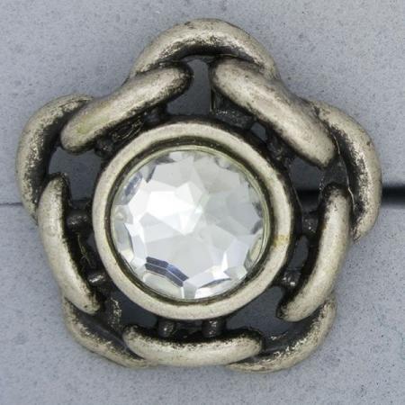 Ref000828 Botón Pentágono en color plata