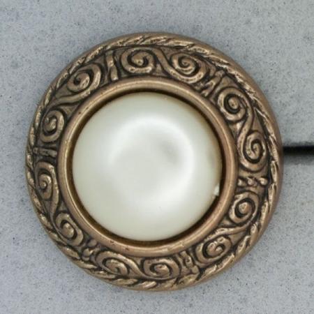 Ref000857 Botón Redondo en colores bronce y  blanco