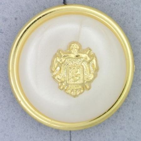 Ref000872 Botón Redondo en colores blanco y  dorado y  nacar