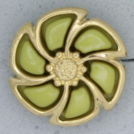 Ref000876 Botón Redondo, Flor en colores verde y  pistacho y  dorado