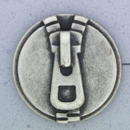 Ref000899 Botón Redondo en colores plata y  negro