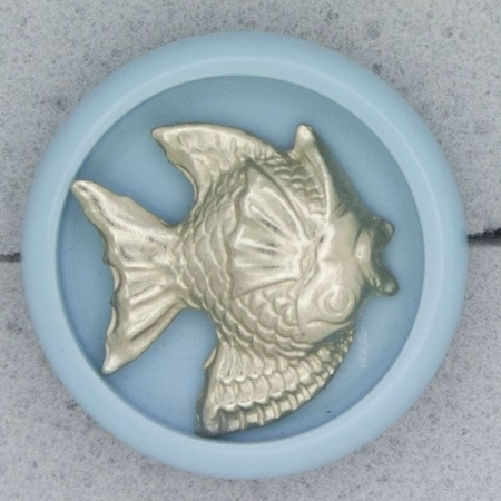 Ref000903 Botón Redondo en colores azul y  celeste y  plata