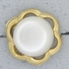 Ref000909 Botón Redondo, Flor en colores blanco y  dorado