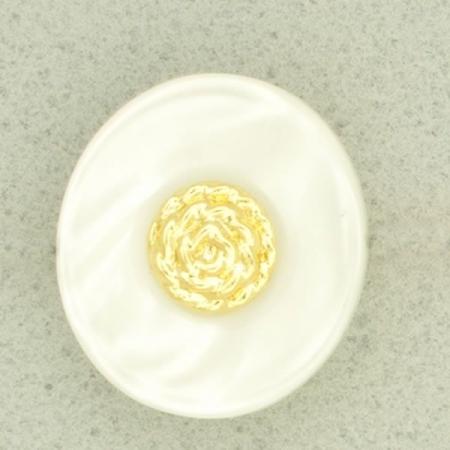 Ref000914 Botón Ovalado en colores blanco y  dorado