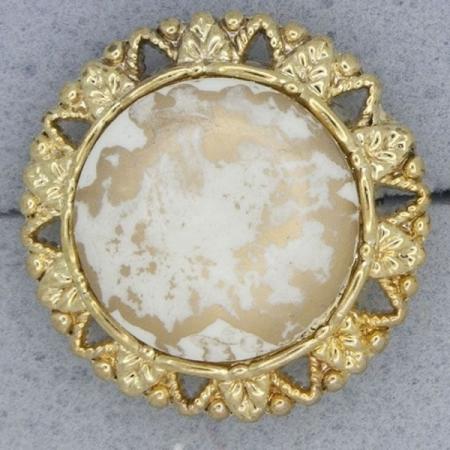 Ref000915 Botón Redondo en colores blanco y  dorado