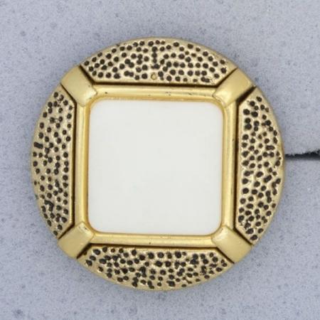 Ref000918 Botón Redondo en colores blanco y  dorado