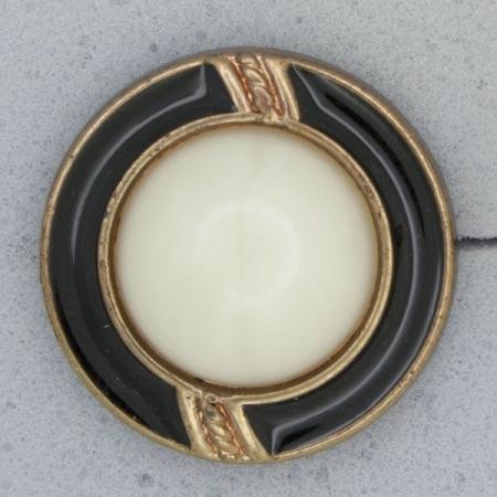 Ref000957 Botón Redondo en colores blanco y  dorado y  bronce y  negro