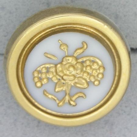 Ref000971 Botón Redondo en colores blanco y  dorado