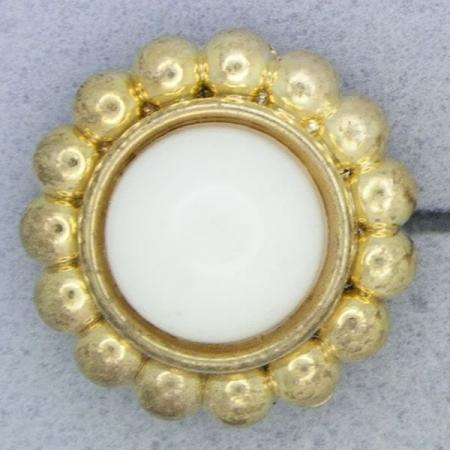 Ref001009 Botón Redondo en colores blanco y  dorado