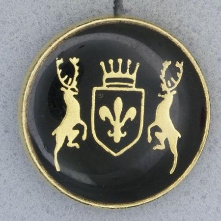 Ref001018 Botón Redondo en colores dorado y  negro