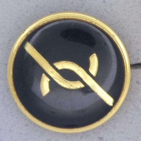 Ref001033 Botón Redondo en colores dorado y  azul marino