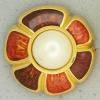 Ref001062 Botón Redondo, Flor en colores naranja y  rojo y  dorado y  blanco
