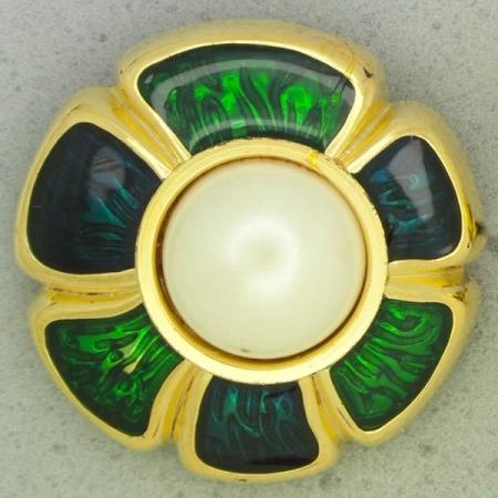 Ref001063 Botón Redondo, Flor en colores azul y  verde y  dorado y  blanco