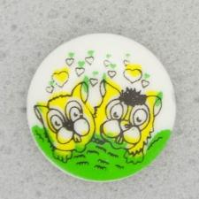 Ref001076 Botón Redondo en colores amarillo y  verde y  blanco