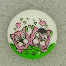 Ref001077 Botón Redondo en colores rosa y  verde y  blanco