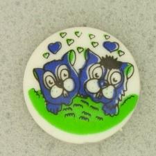 Ref001078 Botón Redondo en colores azul marino y  verde y  blanco