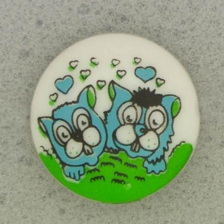 Ref001079 Botón Redondo en colores azul y  celeste y  verde y  blanco