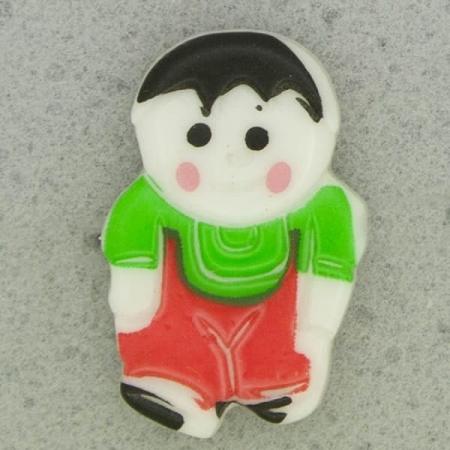Ref001085 Botón Formas en colores rojo y  blanco y  negro y  verde