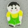 Ref001086 Botón Formas en colores verde y  blanco y  negro y  amarillo