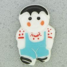 Ref001087 Botón Formas en colores celeste y  blanco y  negro y  rojo