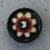 Ref000106 Botón Redondo en colores negro y rojo y blanco y pistacho