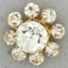 Ref001129 Botón Redondo, Flor en colores dorado y  blanco