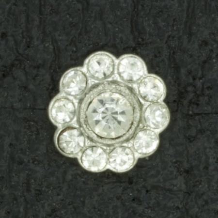 Ref001131 Botón Redondo en colores plata y  blanco