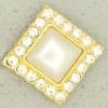 Ref001132 Botón Cuadrado en colores dorado y  blanco