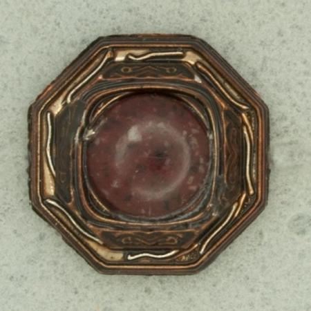 Ref001218 Botón Octógono en colores bronce y marron y burdeos