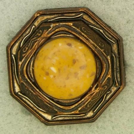 Ref001220 Botón Octógono en colores bronce y naranja y amarillo