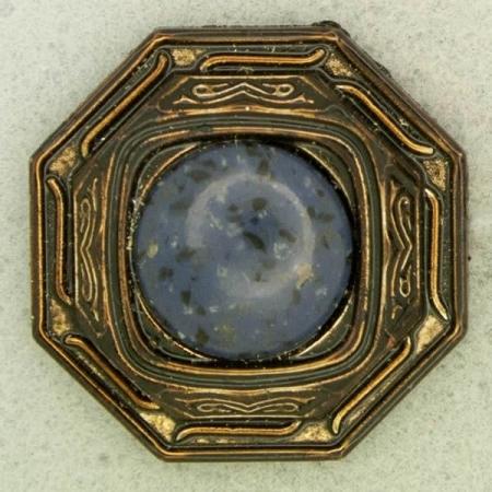 Ref001222 Botón Octógono en colores bronce y azul