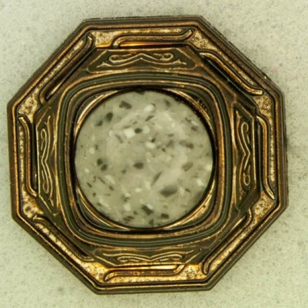 Ref001223 Botón Octógono en colores bronce y gris