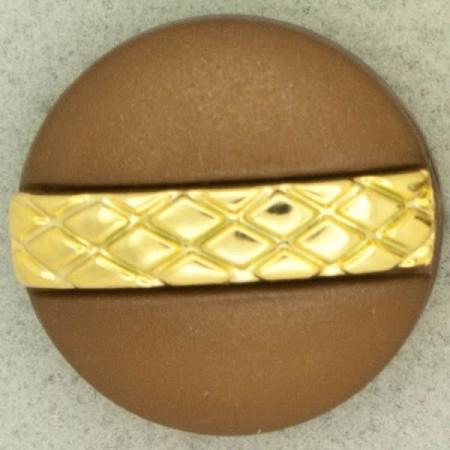 Ref001249 Botón Redondo en colores marron y kaki y dorado