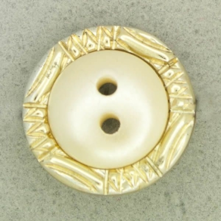 Ref001256 Botón Redondo en colores dorado y blanco
