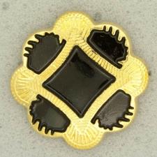 Ref001263 Botón Cuadrado, Estrella en colores negro y dorado