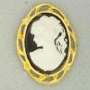 Ref001264 Botón Ovalado en colores negro y blanco y dorado