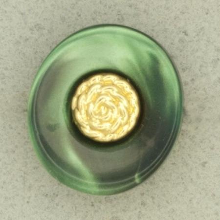Ref001292 Botón Ovalado en colores verde y dorado
