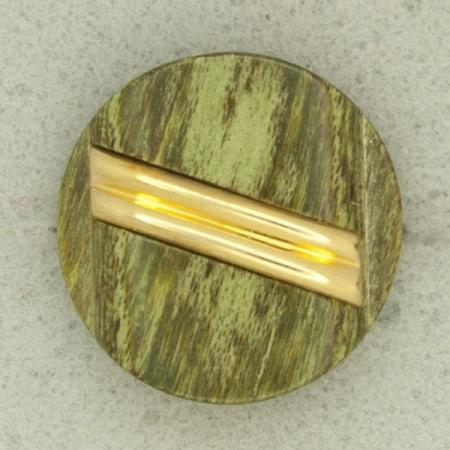 Ref001301 Botón Redondo en colores verde y dorado y madera