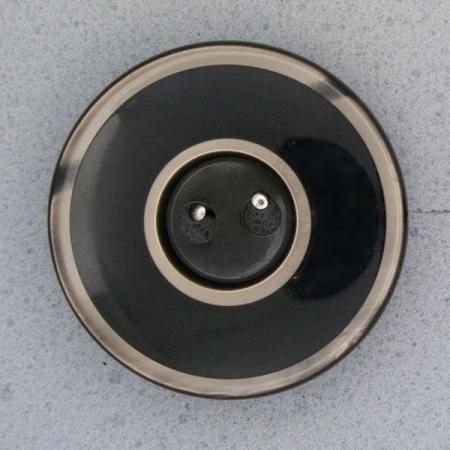 Ref000001 Botón Redondo en colores negro y plata