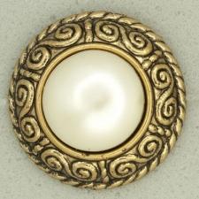 Ref001565 Botón Redondo en colores blanco y  marfil y  dorado