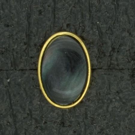 Ref001571 Botón Ovalado en colores azul y  verde y  dorado