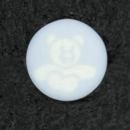 Ref002101 Botón Redondo en colores celeste y blanco