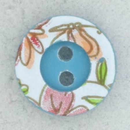 Ref002159 Botón Redondo en colores celeste y turquesa y verde