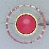 Ref000235 Botón Redondo en colores rojo y  fucsia y  transparente y  dorado